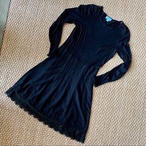 CeCe Black Long Sleeve Knit Dress w/ Lace Detail